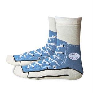 Silly Sock Sneaker Socks Shoe Print Blue