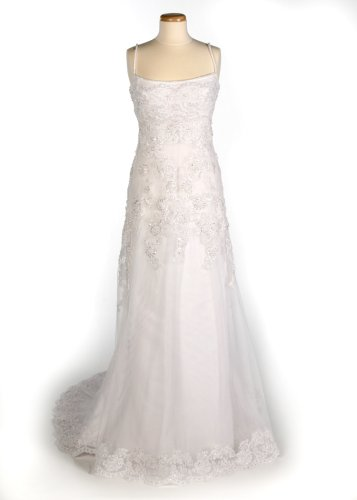 White Spagetti Strap Wedding Gown