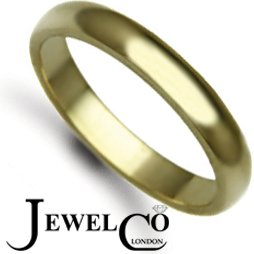 Jewelco London Bespoke Hand-Made 9 carat Yellow Gold 3mm D-Shape Wedding / Commitment Ring, (3g) - Size J
