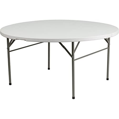 Flash Furniture 60 Round Bi-Fold Granite White Plastic Folding Table
