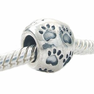 ONE GENUINE SOLID STERLING SILVER PAW PRINT CHARM