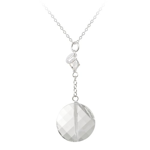 Sterling Silver Round Clear Swarovski Crystallized Elements Pendant Necklace, 18