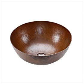 Premier Small Round Vessel Hammered Copper Sink VR13BDB