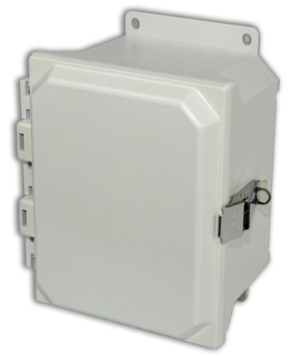 Allied Moulded Amu864Lf Ultraline Series Fiberglass Jic Size Junction Box, Snap Latch And Hinged Cover With Mounting Flanges And Opaque Cover