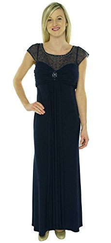 Patra Women's Cap Sleeve Emellished Illusion Gown Navy 6