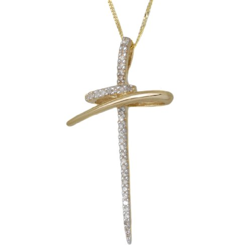 9ct Yellow Gold 0,2 ct Diamond Fancy Cross Pendant 46cmChain