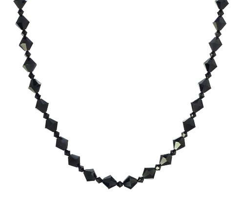 Sterling Silver Swarovski Elements 8mm and 4mm Jet Colored Bicones Necklace, 20