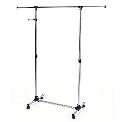 Songmics-Stabil-Kleiderstnder-Ausziehbar-97-165-cm-mit-Rollen-zustzlichem-Kleiderhaken-LLR01L