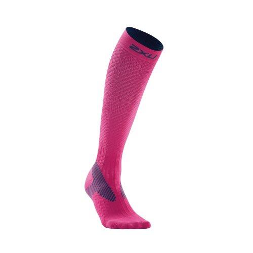 2XU Women's Elite Compression Performance Sock (Pink/Grey, Small)