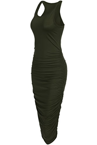 OURS Women's Sexy Summer Sleeveless Ruched Sundress Fold Bodycon Midi Tank Dress (XXL, Army Green)