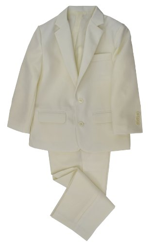 G218 Boys 2 Piece Suit Set Toddler To Teen (7, Ivory) front-534345