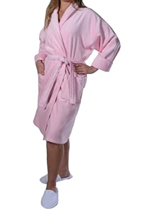 Bathrobes for women, Terry Cotton Robe Pink Shawl Robe size ONE SIZE Fits Most