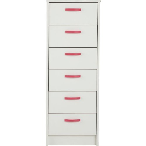 Delightful 6 Drawer Narrow Chest - White with Pink Handles with accompanying Glow Travel Clock