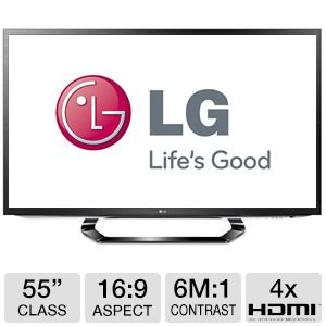 LG 55LM6200 55-Inch Cinema 3D 1080p 120Hz LED-LCD HDTV with Smart TV and Six Pairs of 3D Glasses