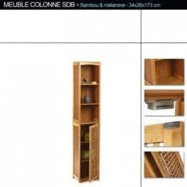 Meuble colonne de salle de bain en bambou for Colonne salle de bain en bambou