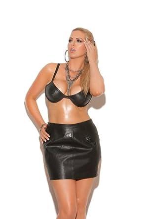 Sexy Leather Spanking Mini Skirt- Q/s - Black