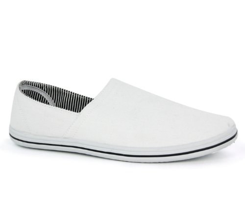Mens Flat Round Toe Pump Gents Slip On Canvas Plimsoll Deck Shoe White Size 8 UK
