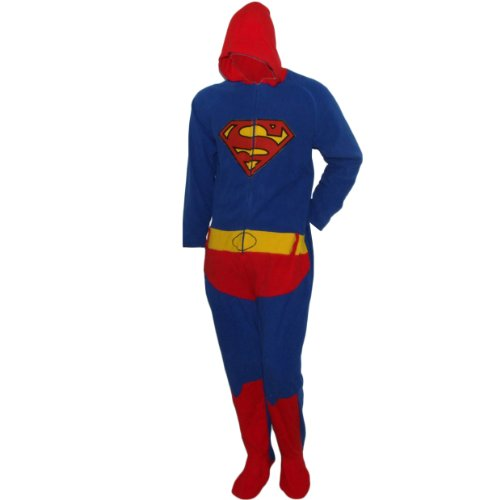 Cedarwood State Mens Superman Onesie Fleece Sleepsuit Costume Pyjamas