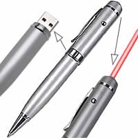 4GB 3in1 Pen Drive (Flash Memory) USB 2.0 with Laser and Ballpoint pen built in (BTQ)