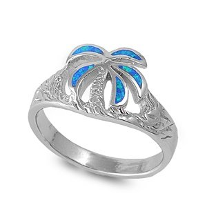 palm tree 12mm blue simulated opal ring