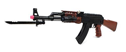 Velocity Airsoft Ak-47 585+ Spring Airsoft Rifle Gun Fps-200 W/ Chrome Folding Bayonet, Tactical Led Flashlight (Faux Wood)