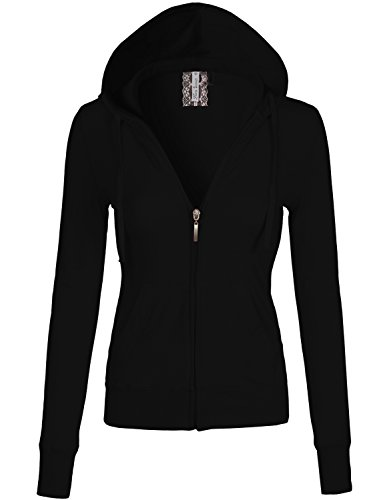 Long Sleeve Zipper Slim Fit Kangaroo Pocket Hoodies 009-Black US L