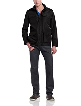 Kenneth Cole REACTION Men's Four Pocket Military Coat, Black, Medium