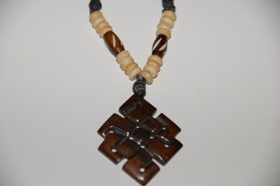 Tibetan Eternal Knot Yak Bone Pendant Necklace