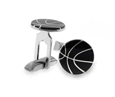 Bling Jewelry Black Enamel Sterling Silver Mens Sports Basketball Cufflinks
