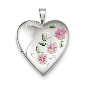 Genuine IceCarats Designer Jewelry Gift Sterling Silver 20Mm Enameled Flowers Heart Locket