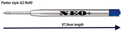 Recharges pour stylo bille de qualité-Bon Marché mais longue durée, 5pièces, pointe moyenne, encre bleu. Pour stylo à bille Parker. G2style Recharge fabriqué en Allemagne