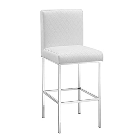 Clarey Quilted Contemporary Wooden Faux Leather Upholstered Bar Stool with Chrome Legs