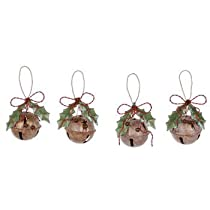 Rustic Jingle Bell Holiday Ornaments - Set of 4
