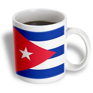 3Drose Mug_158302_2 Flag Of Cuba-Cuban Blue Stripes Red Triangle White Star-Caribbean Island Country World Flags Ceramic Mug, 15-Ounce