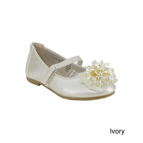 Little Angel Enna-519D Toddler Girl'S Leatherette Round Toe Middle Strap Ballet Flats With Rhinestone, Color:Ivory, Size:5