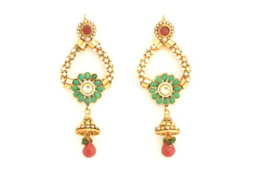 Fashion Balika Fashion Jewelry Gold-Plated Dangle & Drop Earring For Women Multi-Colour-BFJER088 (Multicolor)
