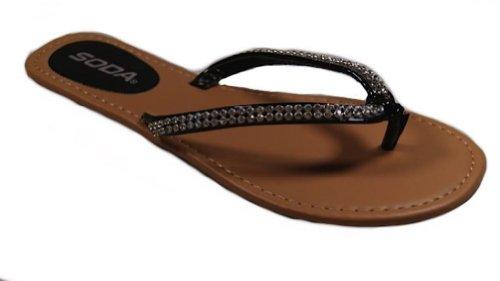 Soda Brett-S Crystal Bling Flip Flop Sandal Thong In Black (8)