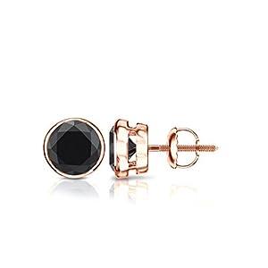 14k Rose Gold Round Black Diamond Bezel-set Stud Earrings (1 1/2 ct, Black)