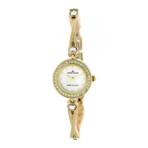 AK Anne Klein Women's 109394MPGB Swarovski Crystal Accented Gold-Tone Link Bracelet Watch