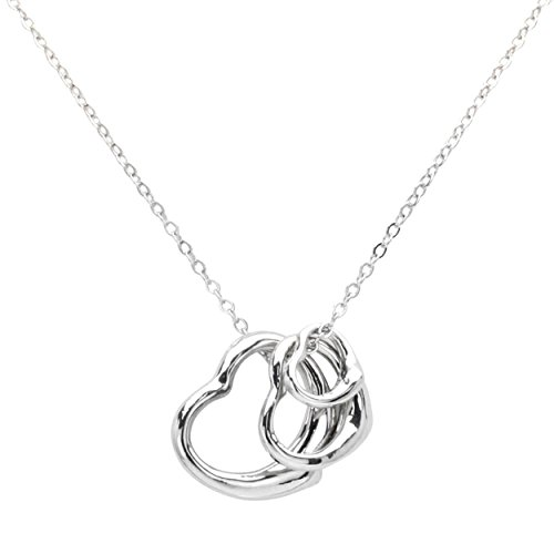 Silver Color Three Hearts Pendant With Chain Necklace