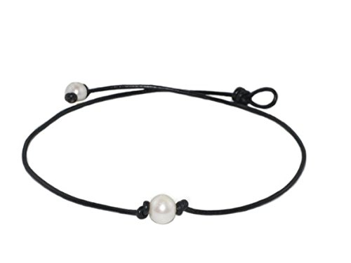 High Quality Single Freshwater Cultured Pearl Necklace on Black Leather Cord, 16″ (9.5-10.5mm)