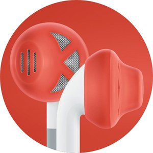 Earskinz Earbud Covers (Es1) - Red, One Size - Iphone 4S / 4 / 3Gs / 3G, Ipod Touch, Ipod Nano