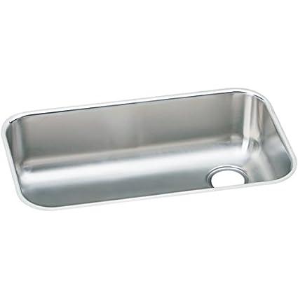 Elkay EGUH2816R   Gourmet Elumina Undermount Sink, Stainless Steel, Soft Satin, Single-Bowl