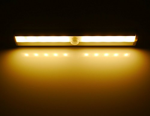 Hotenda Wireless Motion Sensing Closet Cabinet LED Night Light/Stairs Light/Step Light Bar with Magnetic Strip DIY Stick-on Anywhere Portable (Battery Operated) - Silver (Soft white) (Glass Display Case Lighting compare prices)