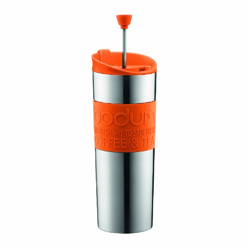Travel Coffee Maker Press : Vacuum Coffee Maker: Bodum Stainless Steel Vacuum Travel Press Coffee Maker with Orange Silicone ...