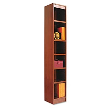 Alera : Narrow Profile Bookcase, Finished Back, Wood Veneer, 6-Shelf, 12x12x72, Cherry -:- Sold as 2 Packs of - 1 - / - Total of 2 Each