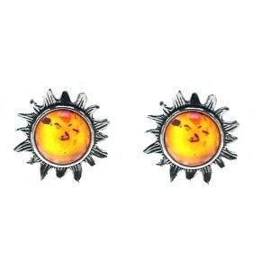Certified Genuine Baltic Honey Amber and Sterling Silver Very Small Flaming Sun Stud Earrings