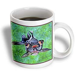 3Drose Blackmoor Goldfish, Telescope Goldfish, Dragon Eye Goldfish, Ceramic Mug, 11-Oz