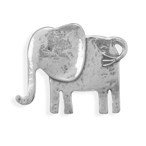 Sterling Silver Oxidized Elephant Pin/Pendant