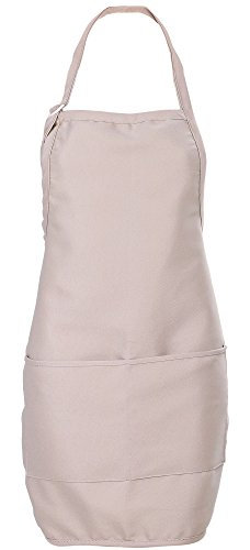 [Women's Cute Pocket Apron with Tunnel Ties in Cotton/Poly, Khaki] (Starbucks Waiter Costume)